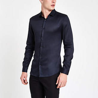 River Island Mens Navy button-down long sleeve shirt