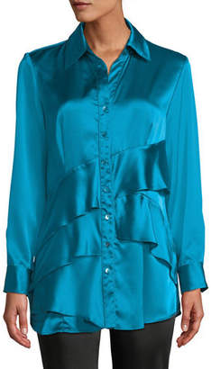 Finley Jenna Long-Sleeve Button-Front Tiered Ruffle Satin Blouse, Plus Size