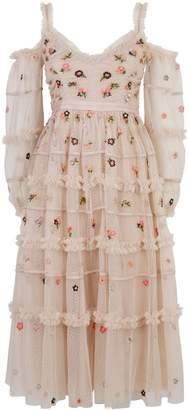 Needle & Thread Celeste Embroidered Cold Shoulder Dress