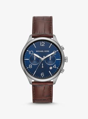Michael Kors Merrick Crocodile-Embossed Leather Watch