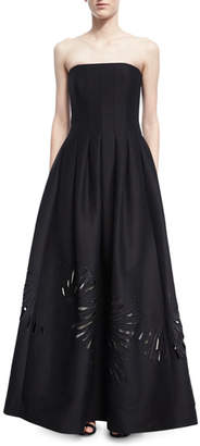 Halston Strapless Seamed Structured Ball Gown