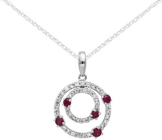 14K Diamond & Gemstone Double Circle Pendant with Chain