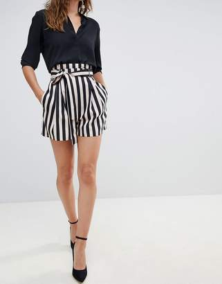 Asos Design DESIGN tailored soft shorts with paperbag waist in stripe