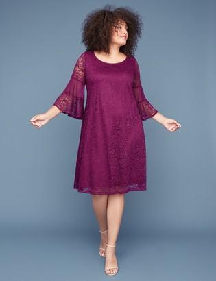 Lane Bryant 3/4 Bell-Sleeve Lace & Mesh Swing Dress
