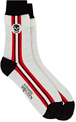 Alexander McQueen Men's Striped Cotton-Blend Mid-Calf Socks $70 thestylecure.com