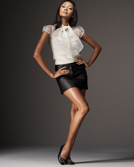 Milly Stretch Leather Mini Skirt