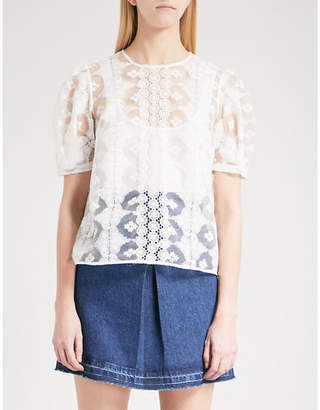 Sandro Embroidered mesh top
