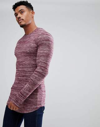 Asos DESIGN Longline Muscle Long Sleeve T-Shirt In Brushed Knitted Jersey With Curved Hem In Oxblood