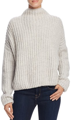 Suncoo Poppy Funnel Neck Ribbed Sweater $226 thestylecure.com
