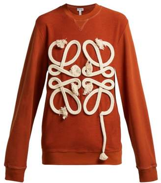 Loewe Anagram Rope Cotton Jersey Sweatshirt - Womens - Red