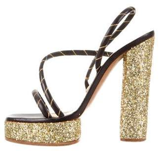 Marc Jacobs Leather Glitter-Trimmed Sandals Black Leather Glitter-Trimmed Sandals