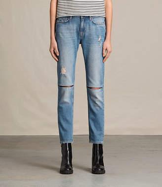 AllSaints Slit Boyfriend Jeans