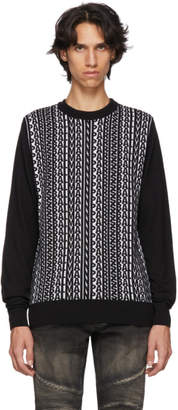 Balmain Black Logogram Wool Sweater