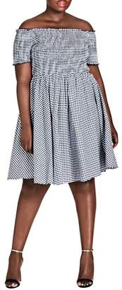 City Chic Gingham Off the Shoulder Fit & Flare Dress