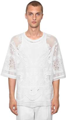 Dolce & Gabbana Laced Cotton Blend T-Shirt