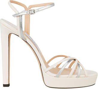 Jimmy Choo Lilah 130 Metallic Platform Sandals