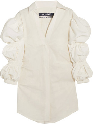 Jacquemus - Shirred Cotton-jacquard Mini Dress - White $685 thestylecure.com