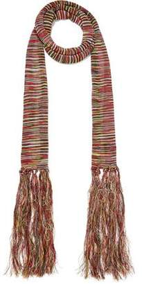 Sandro Amber Fringed Crochet-Knit Scarf