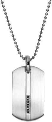 1/10 Carat T.W. Black Diamond Stainless Steel Dog Tag - Men