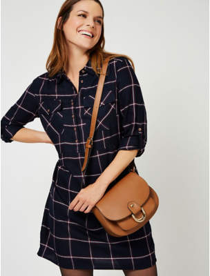 George Navy Check Button-Down Tunic