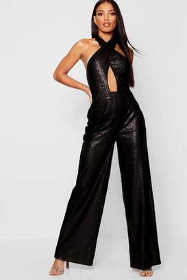 88a36d007ba boohoo Sequin Halter Neck Wide Leg Jumpsuit