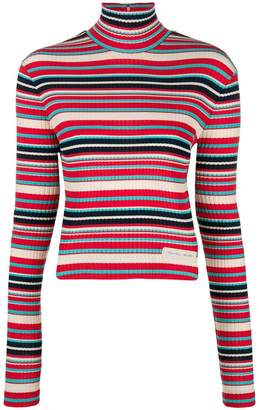Prada striped rib knit turtleneck sweater
