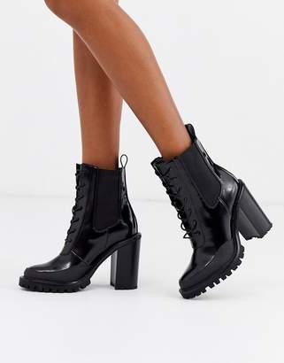 Asos Design DESIGN Ellen chunky lace up boots in black