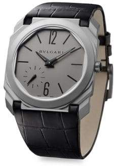 Bvlgari Octo Finissimo Titanium Alligator Leather Strap Watch