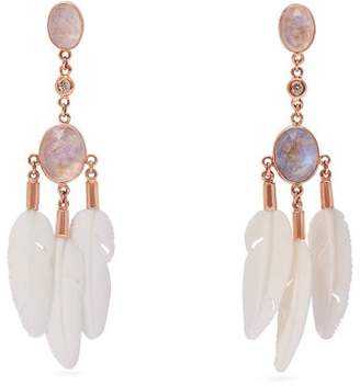 Jacquie Aiche Dream Catcher Moonstone & Bone Rose Gold Earrings - Womens - Rose Gold
