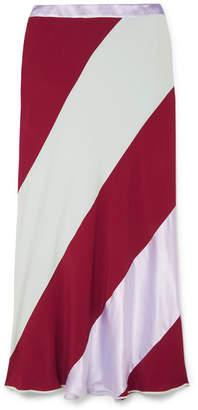 Marni Striped Crepe De Chine Midi Skirt - Red