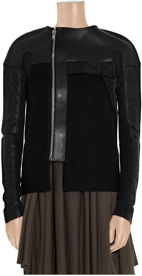 Rick Owens Melton wool-felt and leather jacket