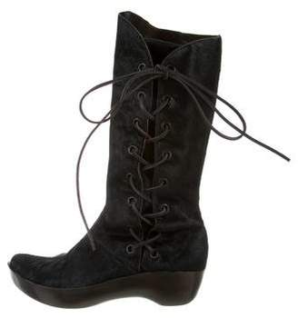 Robert Clergerie Ponyhair Clog Lace-Up Boots