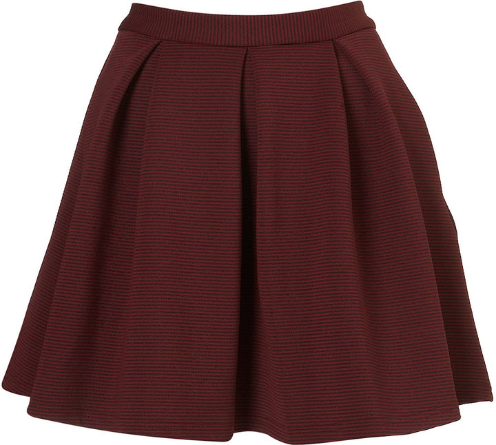 Oxblood Ribbed Pleated Skirt