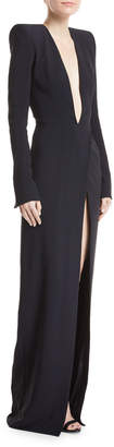 Alexandre Vauthier Plunging Long-Sleeve Crepe Gown