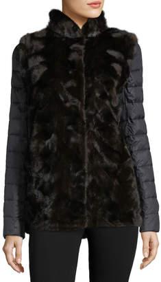 Gorski Mink-Vested Quilted-Sleeve Jacket