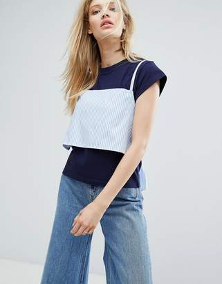 Outstanding Ordinary T-Shirt With Tie Up Cami Layer