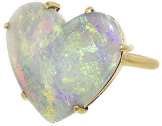 Irene Neuwirth Carved Opal Heart Ring - Yellow Gold