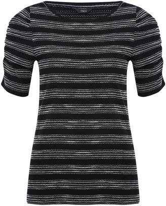 M&Co Stripe ruched sleeve top