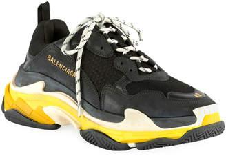 Balenciaga Men's Triple S Mesh & Leather Sneakers, Black/Yellow