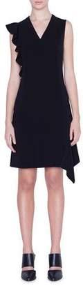 Akris Punto Asymmetric-Ruffled Crepe Dress