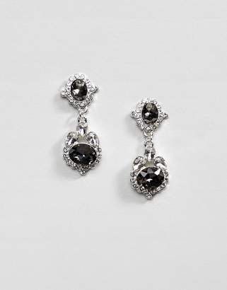 Johnny Loves Rosie Statement Earrings With Gray Gem Detail