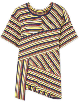 Marques Almeida Marques' Almeida - 7 For All Mankind Asymmetric Striped Ribbed Cotton-jersey T-shirt - Pastel yellow