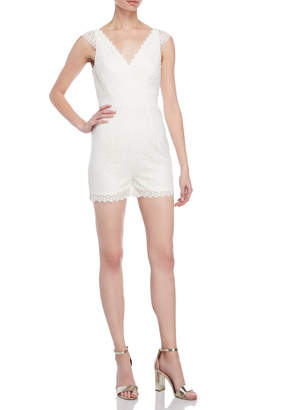 Monique Lhuillier Cap Sleeve Lace Romper