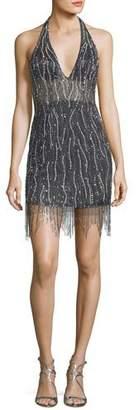 Jovani Deep V-Neck Embellished Fringe Mini Dress