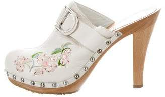 Christian Dior Embroidered Leather Clogs
