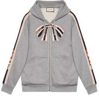 Gucci Oversize zip up sweatshirt with stripe