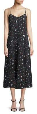 Ganni Nolana Printed Silk Slip Dress