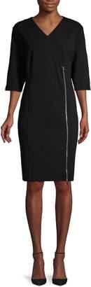 Roberto Cavalli Ruched Long-Sleeve Sheath Dress