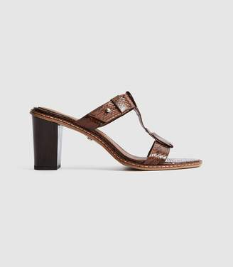 Reiss Alessa - Leather Snake Print Mules in Cognac
