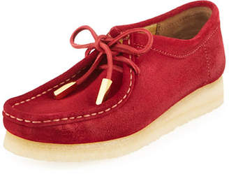 Sycamore Style Women's Suede Moc Wallabee Shoe, Fire Red